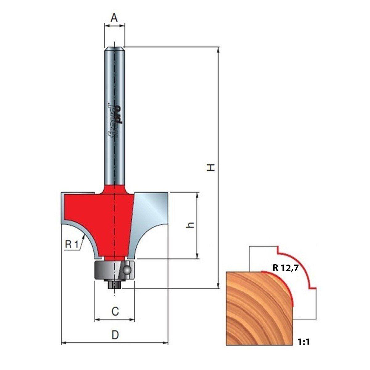 Fresa Tipo Cordão para Tupia Raio 12,7 mm 34-12612 Freud