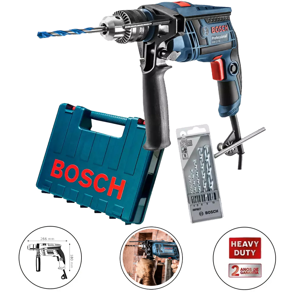FURADEIRA DE IMPACTO PROFISSIONAL 650W BOSCH - GSB 13 RE 060123D5E2