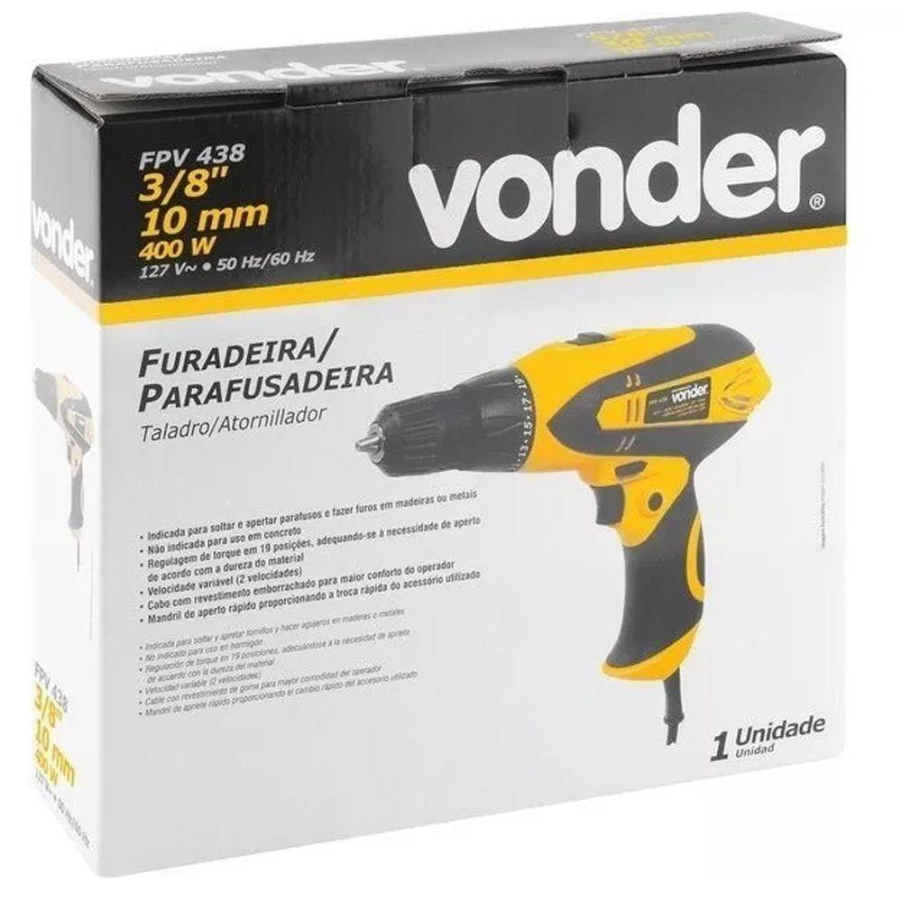 """FURADEIRA E PARAFUSADEIRA 400W 3/8""""  - FPV 438 VONDER"""