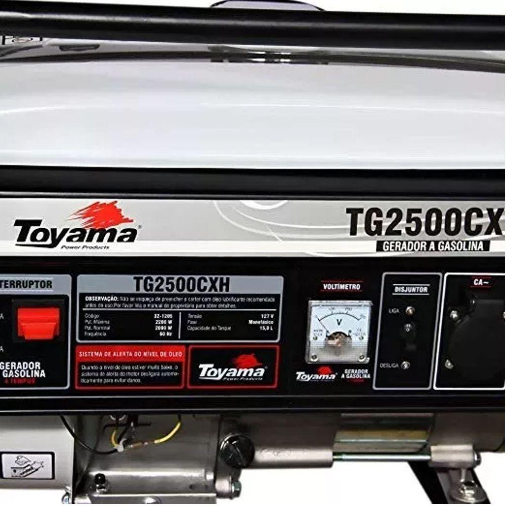 GERADOR A GASOLINA MONOFÁSICO 4 TEMPOS -2200W - TG2500CXH TOYAMA