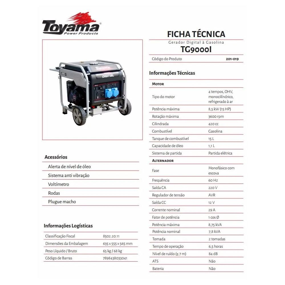 GERADOR DE ENERGIA À GASOLINA 420CC MONOFÁSICO - TG9000I TOYAMA