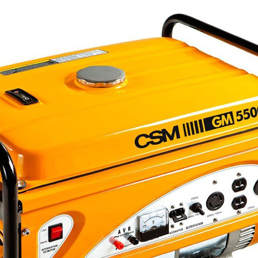 GERADOR DE ENERGIA PORTÁTIL À GASOLINA MONOFÁSICO GM5500E - CSM