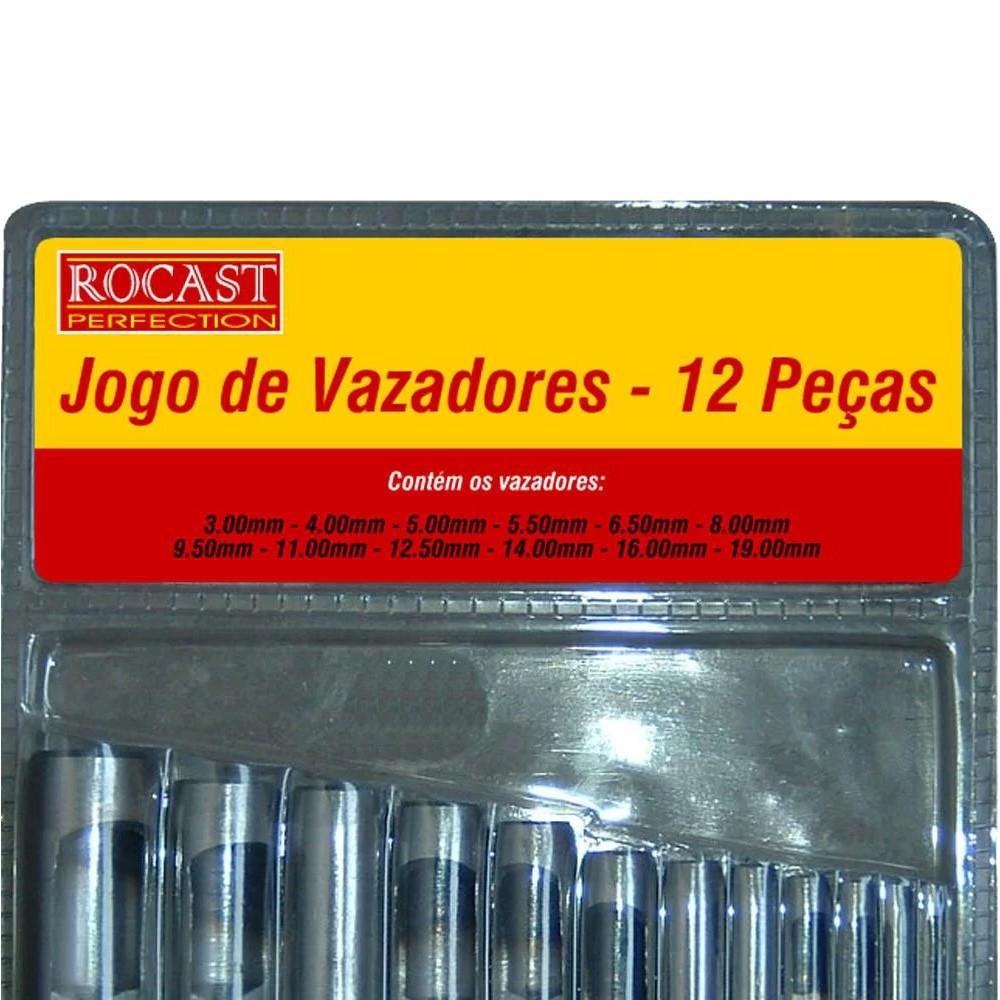 JOGO DE VAZADORES 3 A 19 MM 12 PEÇAS - 59,0016 ROCAST