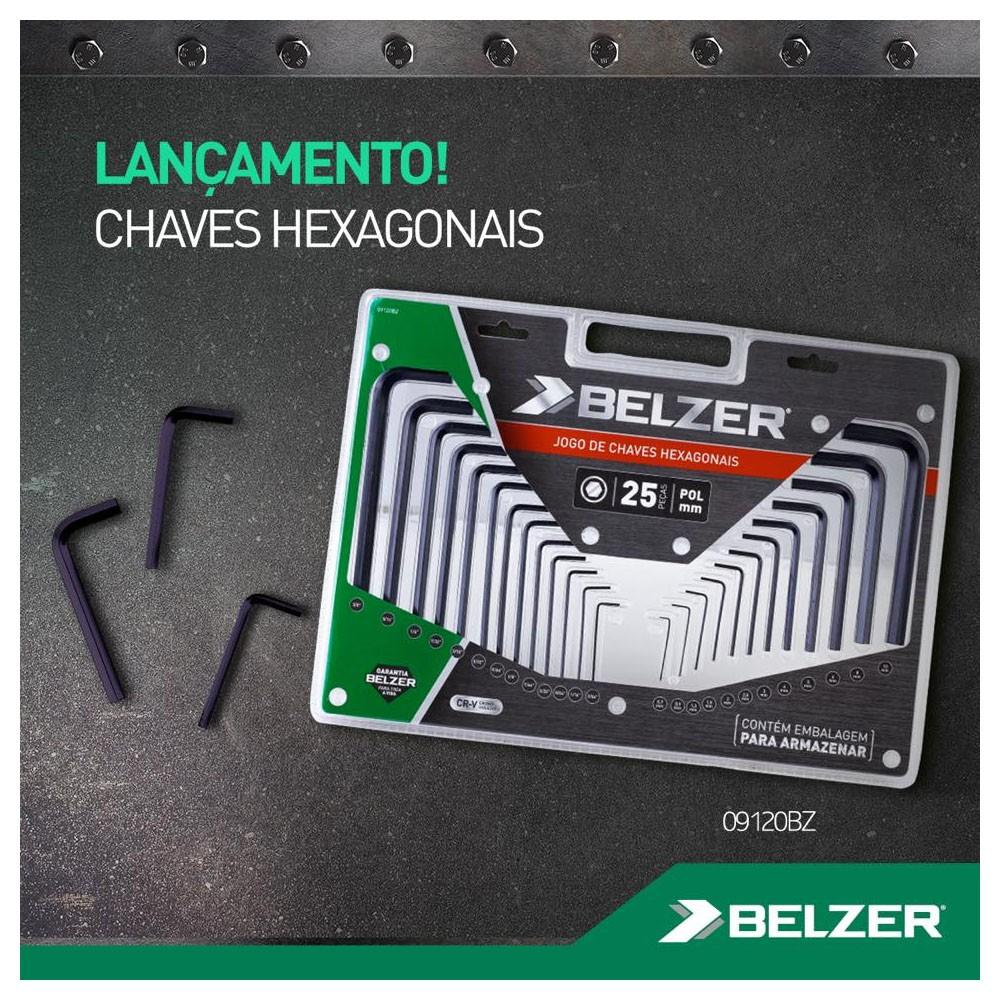 JOGO CHAVE HEXAGONAL 25PC MM/POL - 09120BZ BELZER