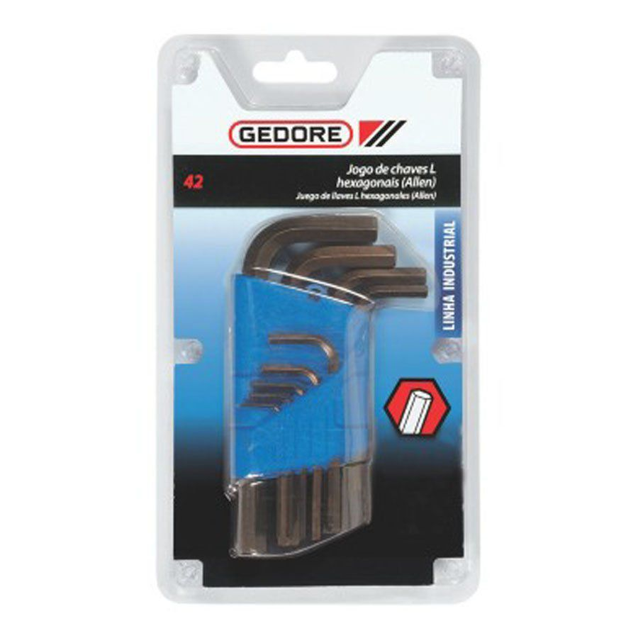 JOGO CHAVE L HEXAGONAL ALLEN 1,5mm A 10mm 42-9M - GEDORE