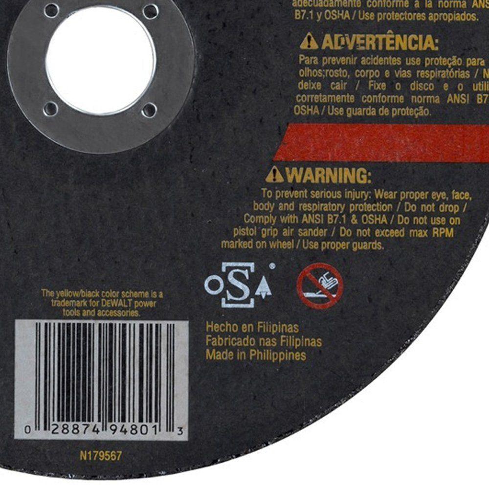 Kit com 10 discos abrasivo corte metal Dewalt DW44801