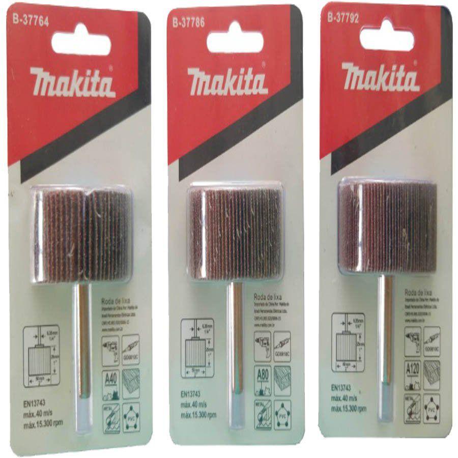 Kit Com 3 Rodas De Lixa Grão A40 A80 A120 Makita