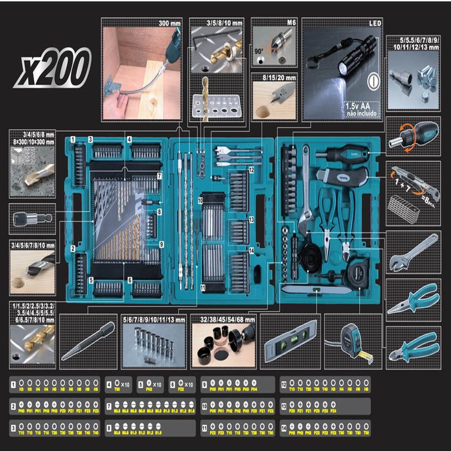 Kit De 200 Brocas E Bits Makita D-37194 Maleta Ferramentas