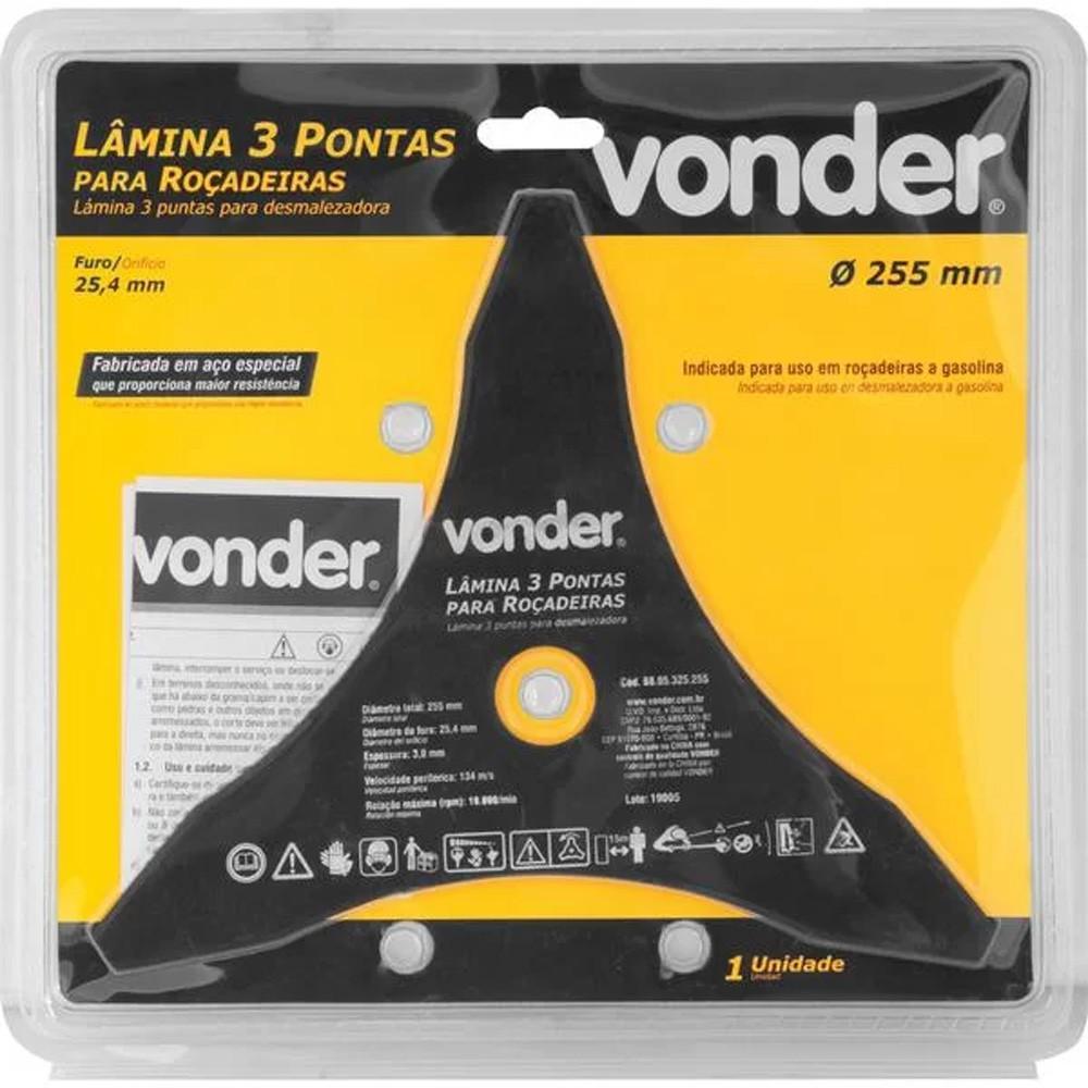 LÂMINA DE 3 PONTAS PARA ROÇADEIRAS 255 MM X 25,4 MM - 6805325255 VONDER