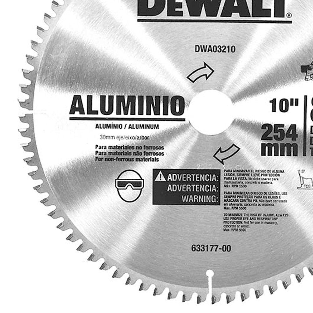 """DISCO DE SERRA ESQ.10"""" 80 DENTES ALUMINIO - DWA03210 DEWALT"""