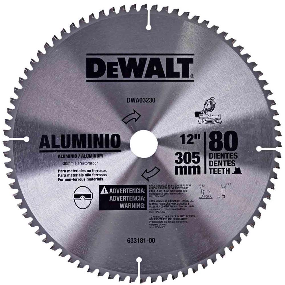 """DISCO DE SERRA ESQUADRIA ALUMINIO 12"""" 80 DENTES - DWA03230 DEWALT"""
