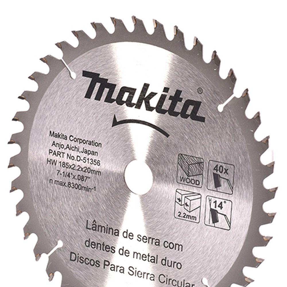 LAMINAS DE SERRA TCT 185X20 MM 40 DENTES - D-51356 - MAKITA