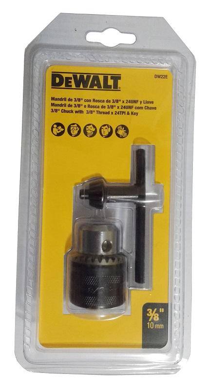 MANDRIL COM CHAVE 10LL 3/8x24F 10mm - DW22E - DEWALT