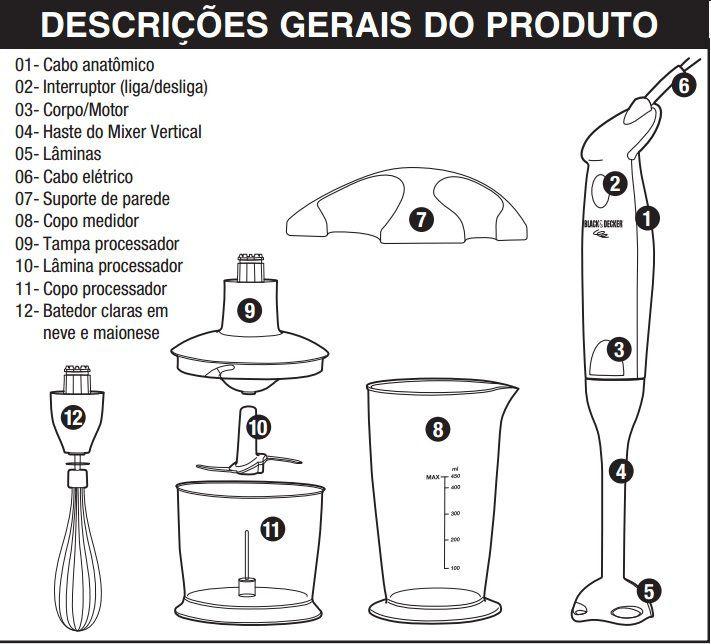 MIXER VERTICAL 3 EM 1 C/PROCESSADOR E BATEDOR