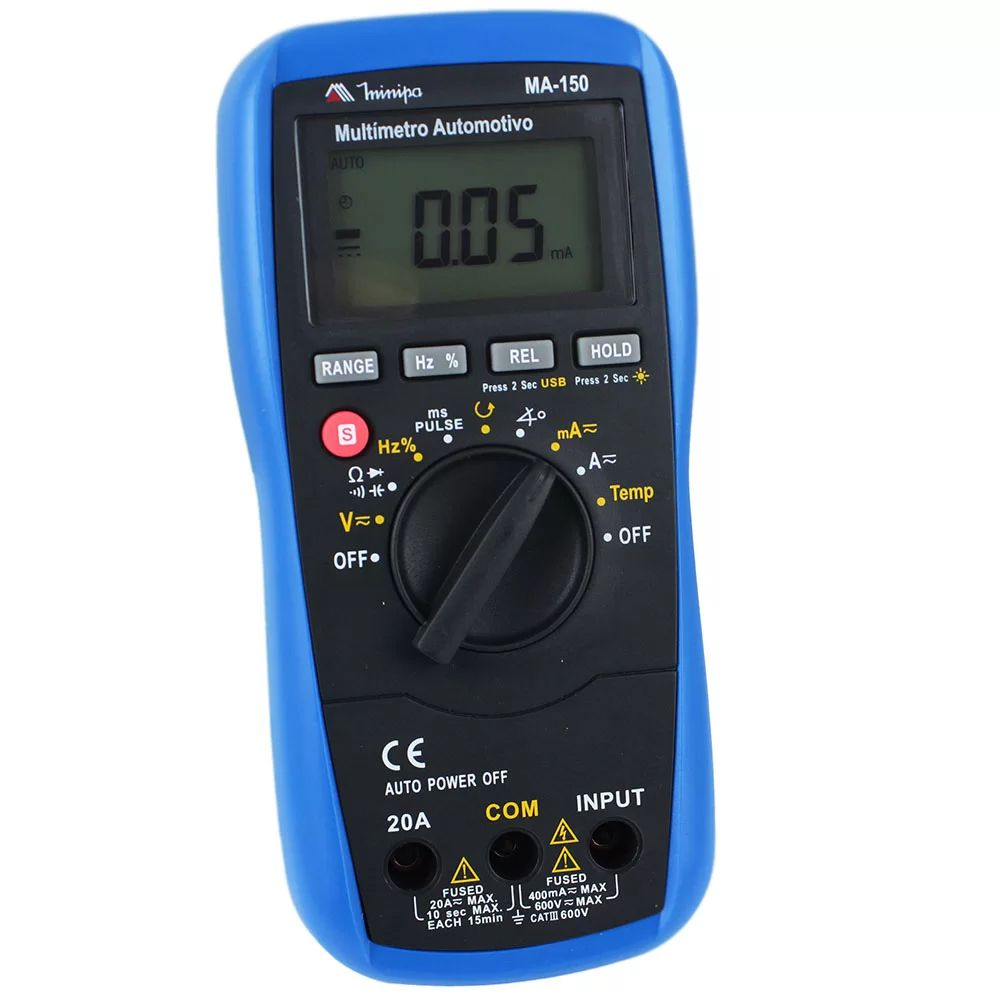 MULTIMETRO AUTOMOTIVO COM INTERF. USB  - MA-150 MINIPA