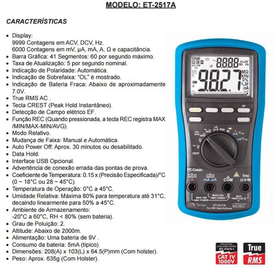 MULTÍMETRO DIGITAL 5000 CONTAGENS MINIPA - ET-2517A
