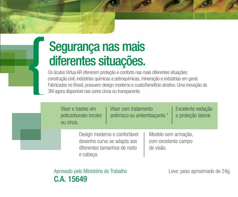 OCULOS DE SEGURANCA MODELO VIRTUA CINZA - 3M