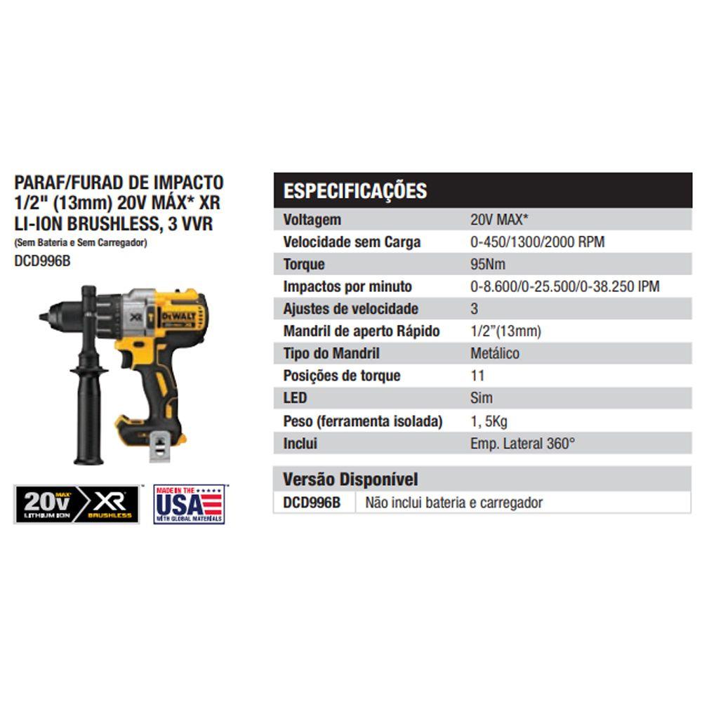 PARAFUSADEIRA E FURADEIRA DE IMPACTO À BATERIA 20V MAX - DCD996B DEWALT