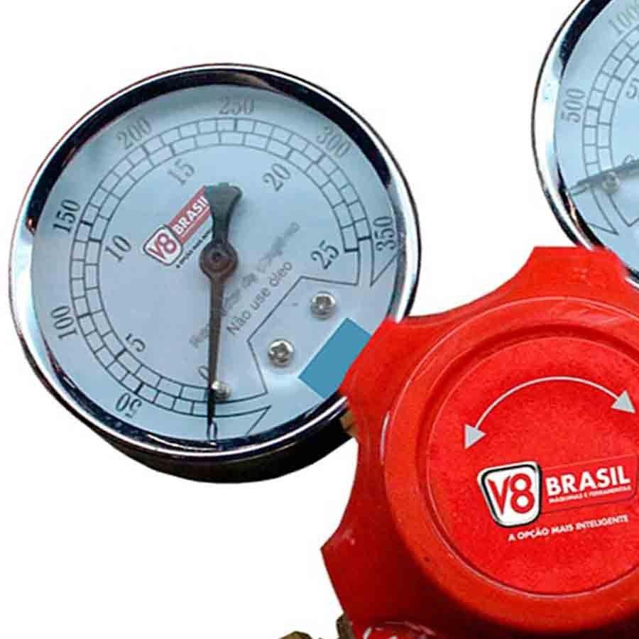 Regulador de Pressão Acetileno V8 Brasil - V8-AC-10