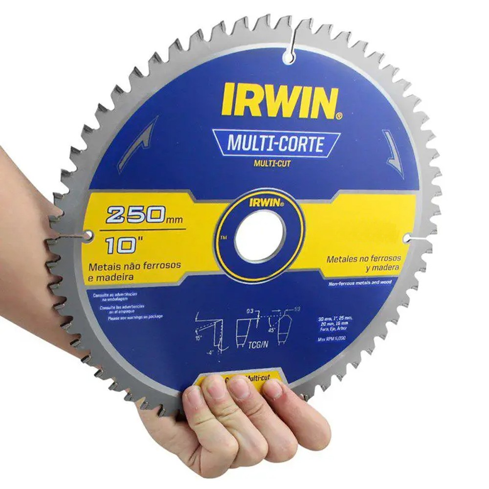 DISCO DE SERRA CIRCULAR MULTICORTE 250 MM COM 100 DENTES - 363021LA IRWIN