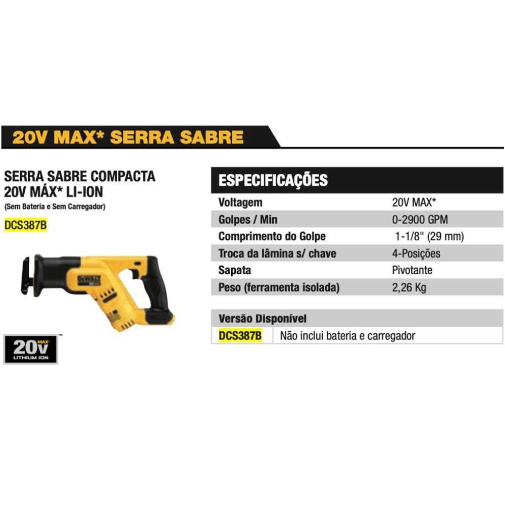 SERRA SABRE COMPACTA 20V  MAX LI-ION SEM BATERIA - DCS387B DEWALT