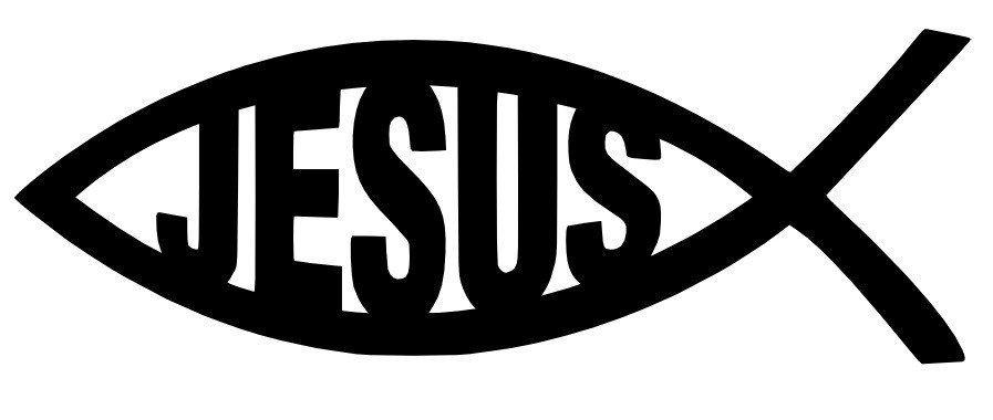 A1066 Auto Adesivo Religião Peixe Jesus