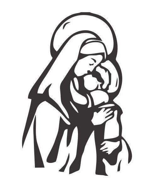 A1067 Auto Adesivo Religião Maria e Filho