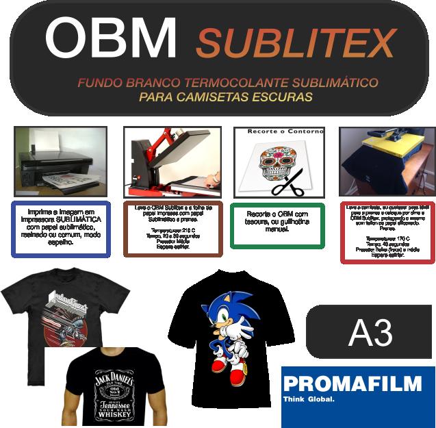 OBM Sublitex - Termocolante Sublimático para Camisetas Escuras - A3