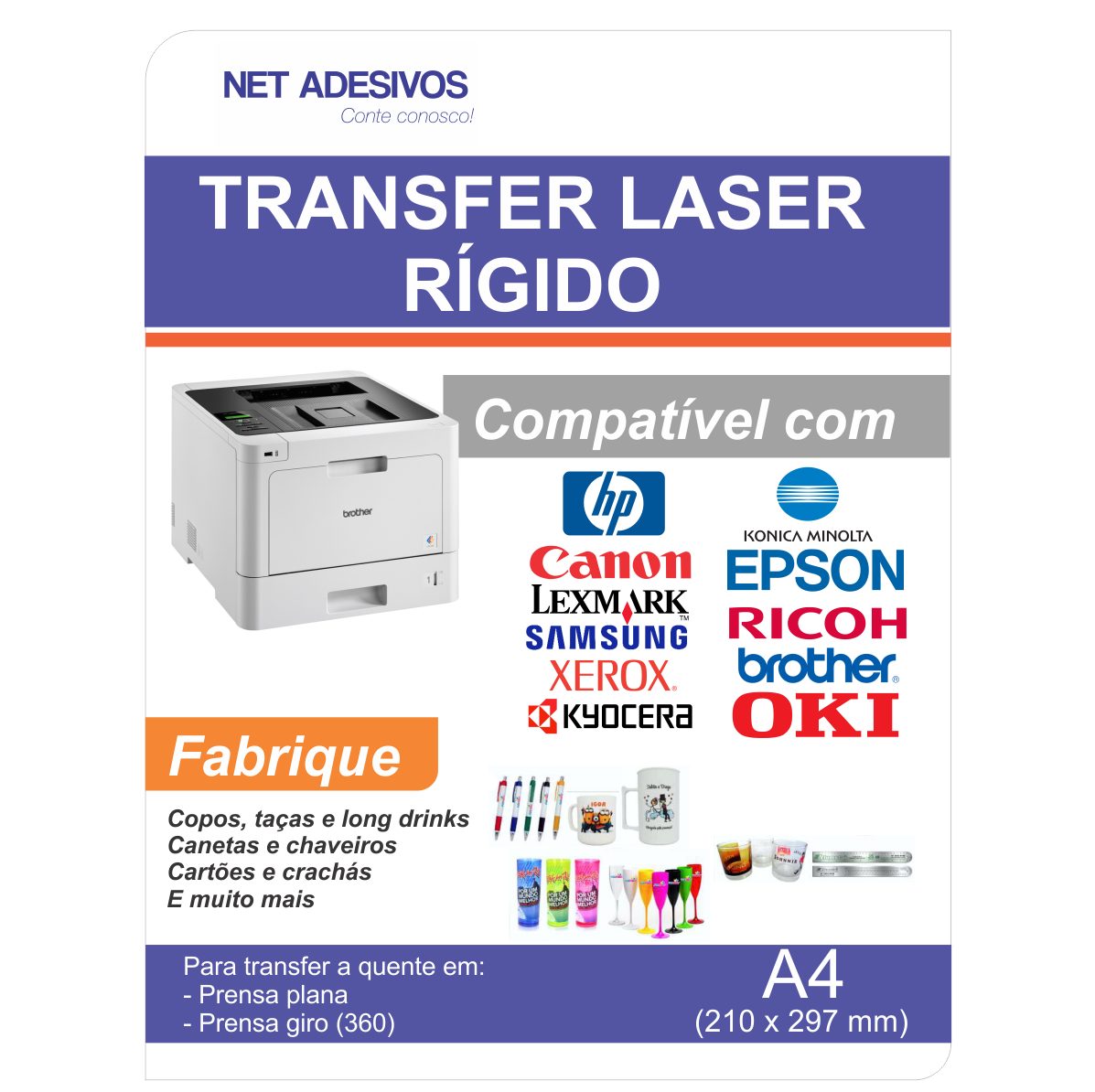Papel Transfer Laser Rigido - A4