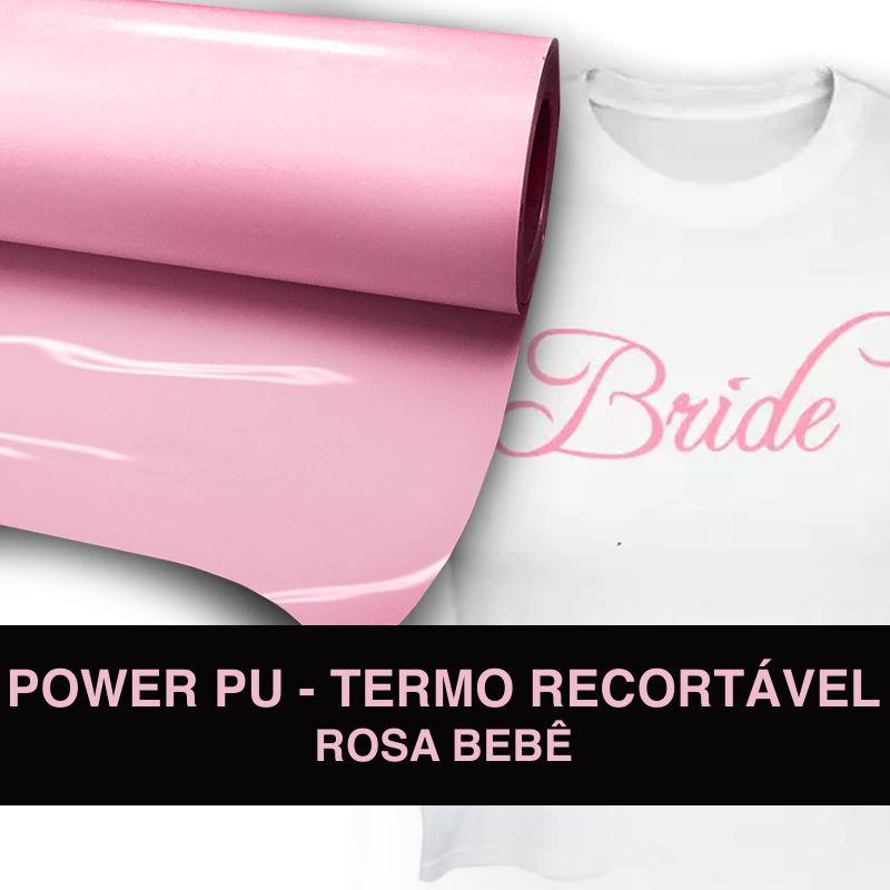 Power PU - Termocolante Recortável - Rosa - 60 cm