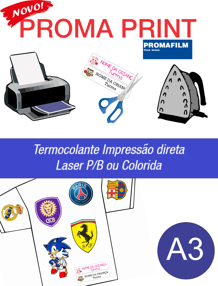 Proma Print - Termocolante Impressão Direta Laser - A3