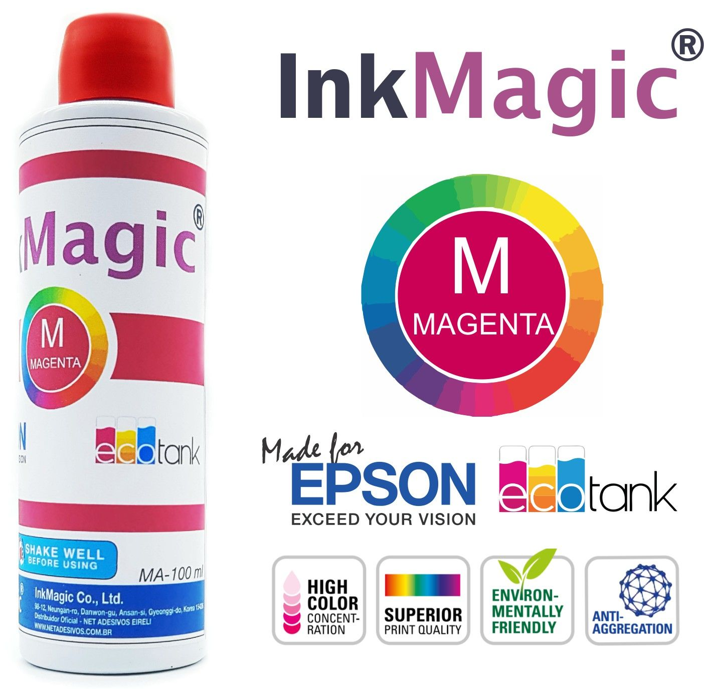 Tinta Sublimática InkMagic 400ml + 100 Papel Sublimático A3 + Icc