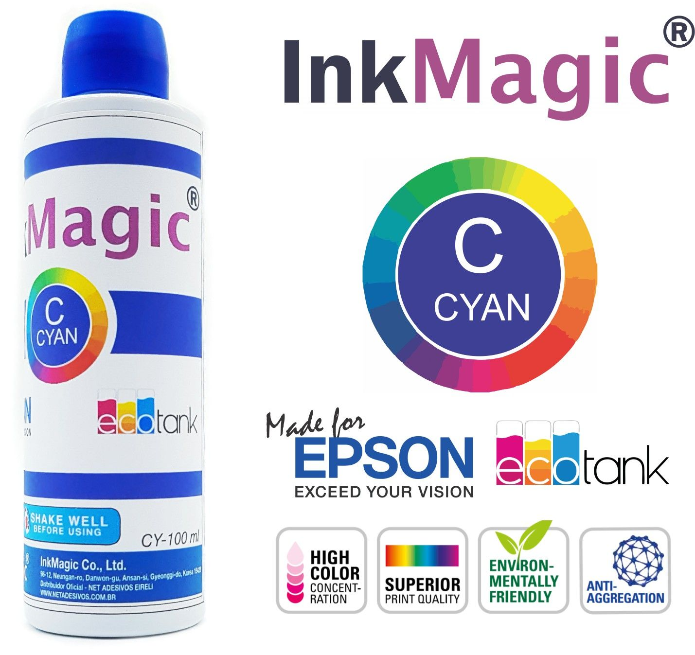 Tinta Sublimática InkMagic 500ml + 300 Papel Sublimático A4 + Icc