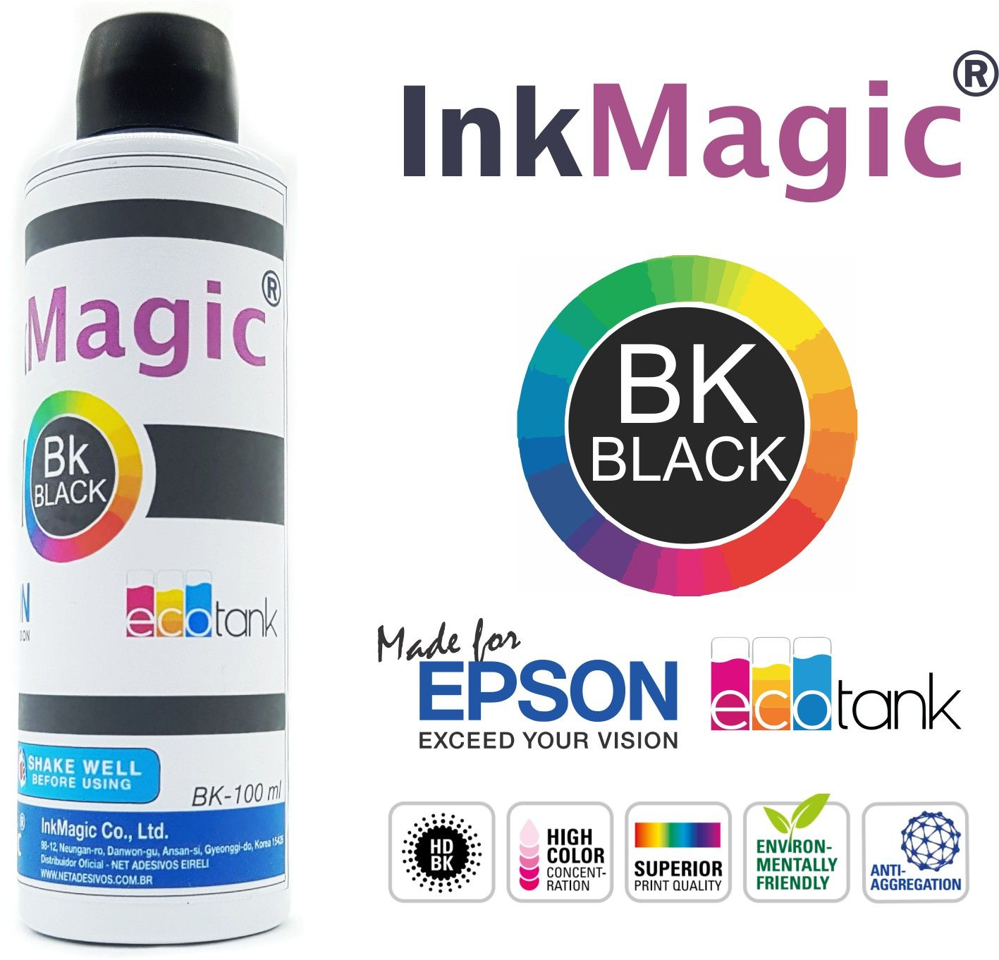 Tinta Sublimatica InkMagic - kit 4 cores x 100 ml + ICC