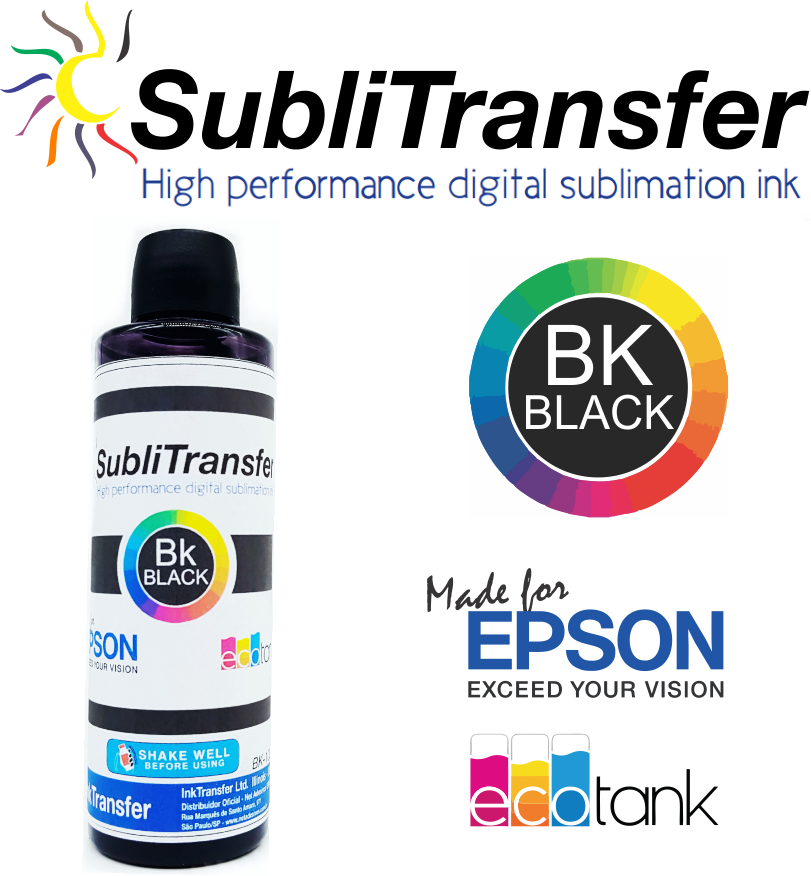 Tinta Sublimática Inktransfer Black - 100 ml