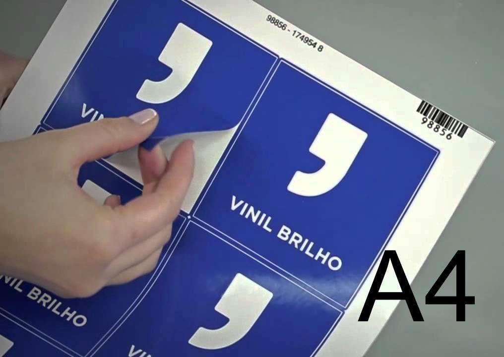 Vinil Adesivo BRANCO p/ Sublimação ou Laser - A4