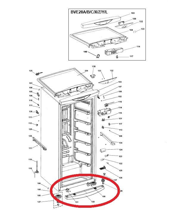 Rodapé Freezer Brastemp Flex BVG28 A Original 326049729