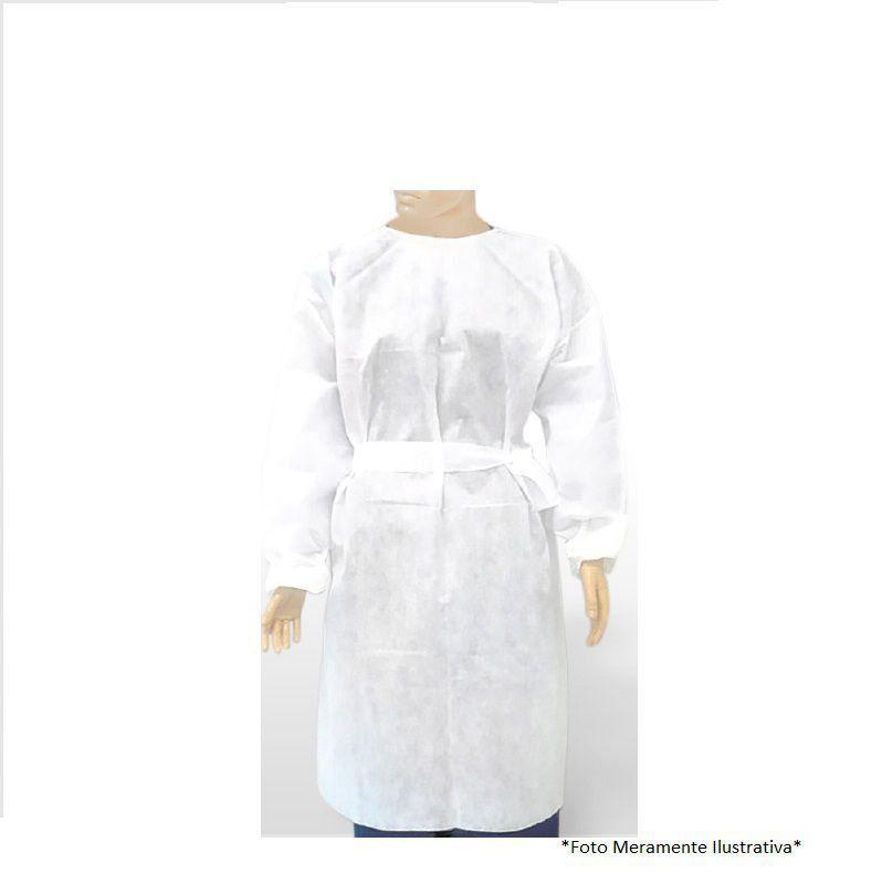 Avental Descartável Branco Scartare Manga Longa com 10
