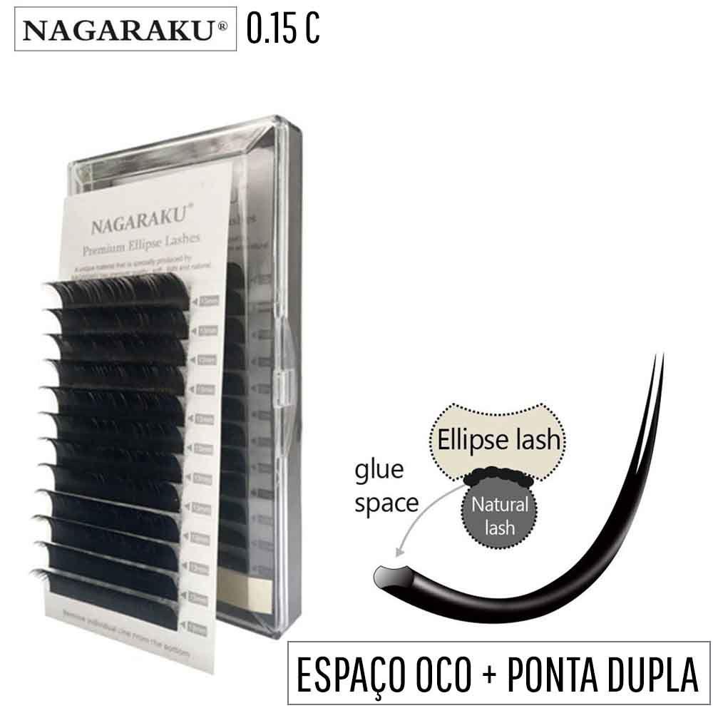 Cílios Nagaraku Elipse Flat 0.15C Tesourinha Fio a Fio