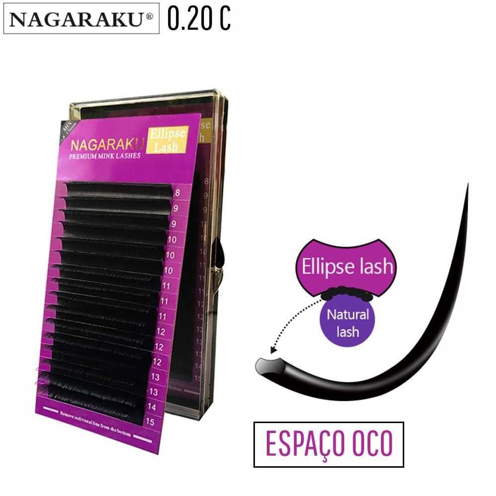 Cílios Nagaraku Elipse Premium 0.20C Fio a Fio Mix 8 ao 15 mm