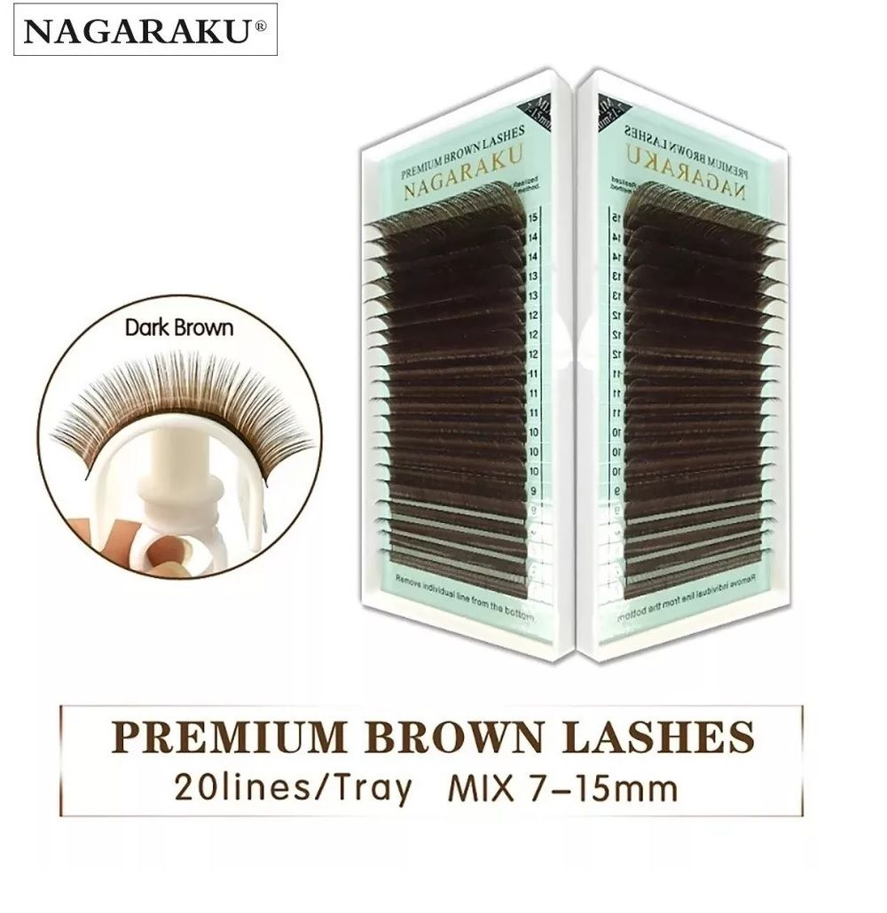 Cílios Nagaraku Premium Brown 0.07D Volume Russo MIX