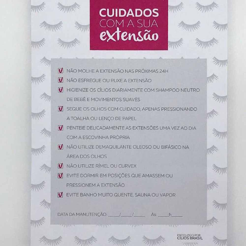 Ficha para Cuidados e Manutenção de Extensão de Cílios