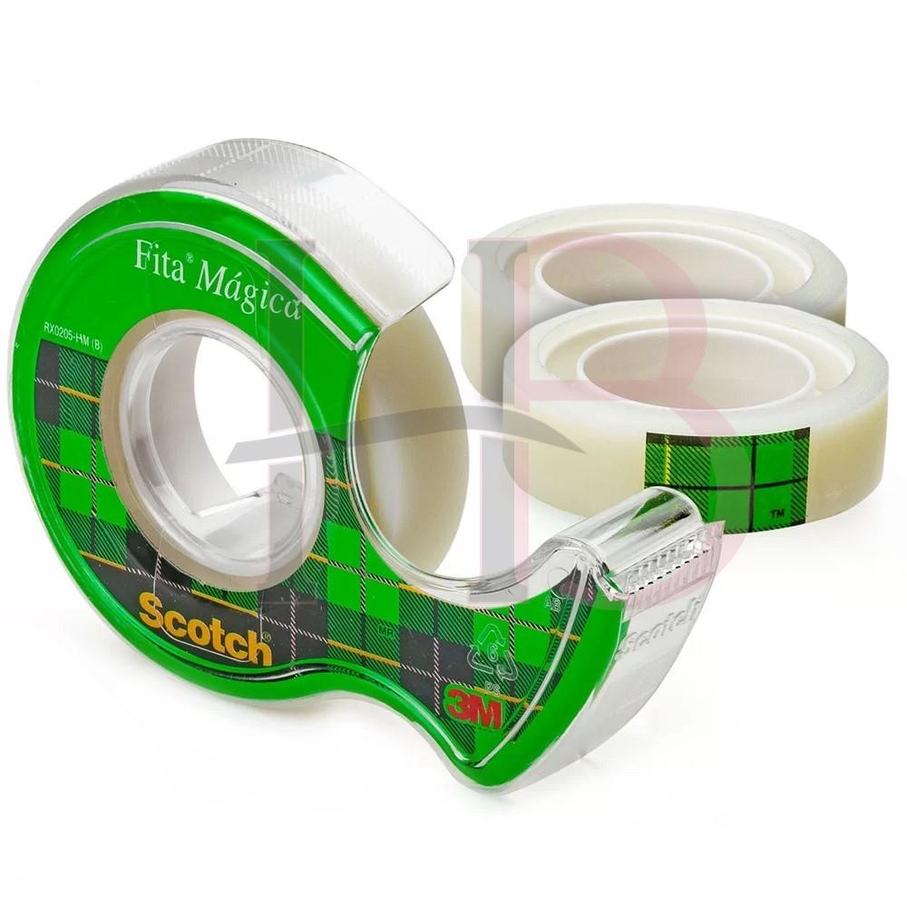 Fita Mágica 3M com 3 Rolos + Cortador 12 mm x 10 m