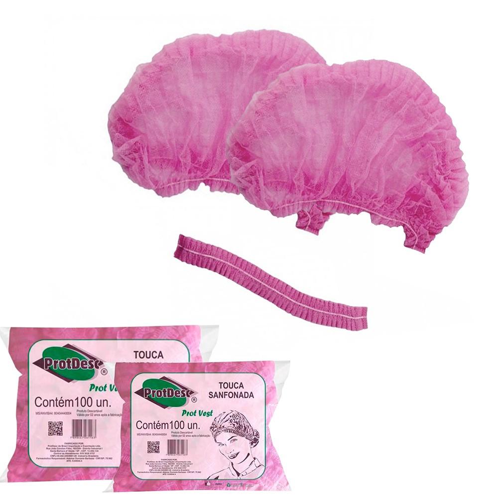 Kit 2 Pacotes de Touca Rosa Protdesc 100 Unid