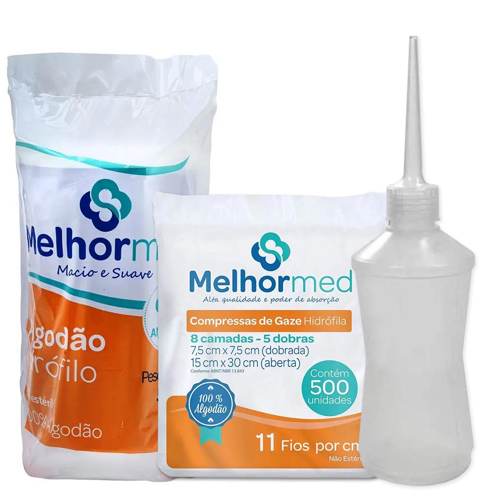 Kit Compressa de Gaze + Algodão Hidrófilo + Almotólia