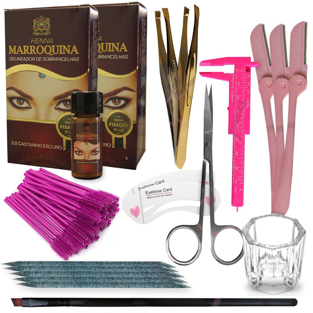 Kit Design de Sobrancelhas c/ 2 Hennas Marroquina e Acessórios