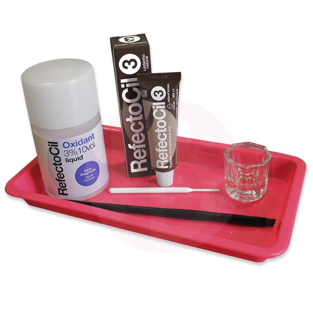 Kit Refectocil + Ox Líquido + Acessórios/Bandeja  - Castanho Natural