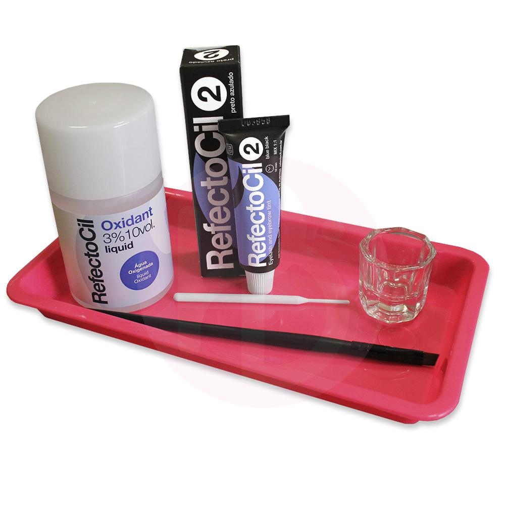 Kit Refectocil + Ox Líquido + Acessórios/Bandeja  - Preto Azulado