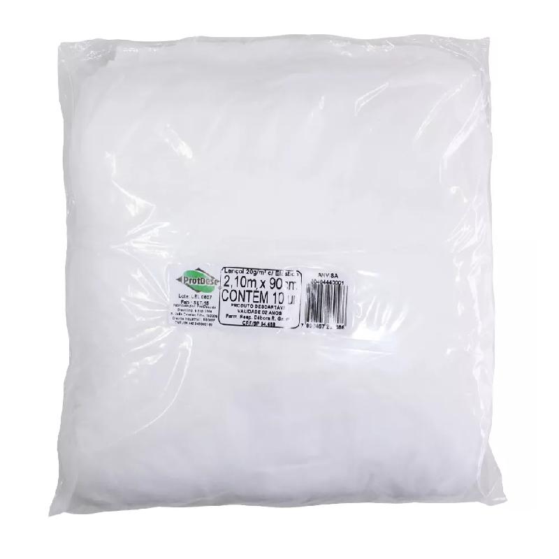 Lençol Descartável Branco Protdesc com Elástico com 10