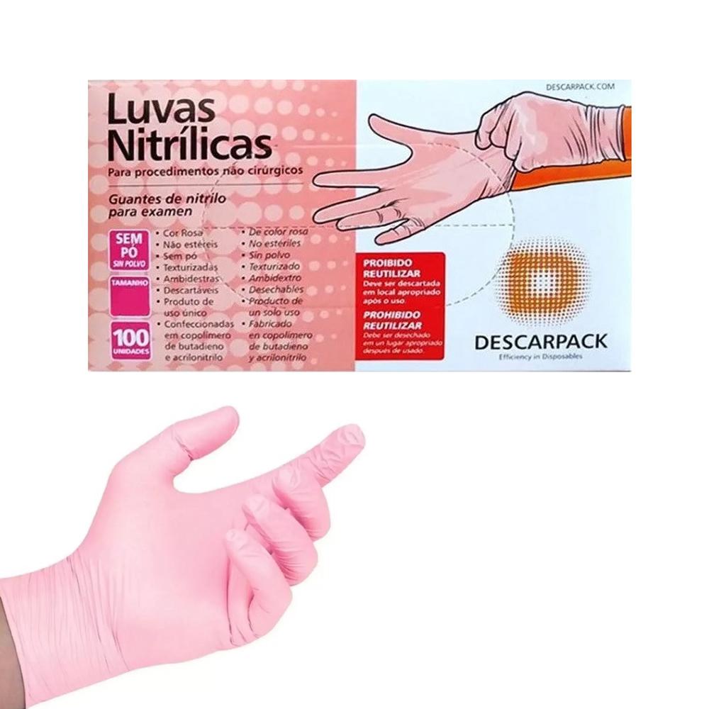 Luva Nitrílica Rosa Descarpack sem Pó com 100